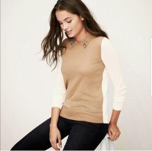 NWT Loft Jeweled Neck Color Block Sweater Size M